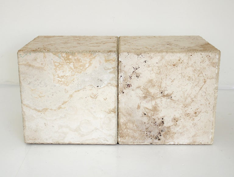 Contemporary Travertine Marble Cube Side Table or Coffee Table For Sale