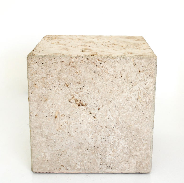 Italian travertine cube shaped side table, end table or coffee table.