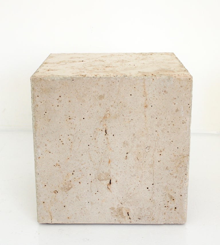 American Travertine Marble Cube Side Table or Coffee Table For Sale