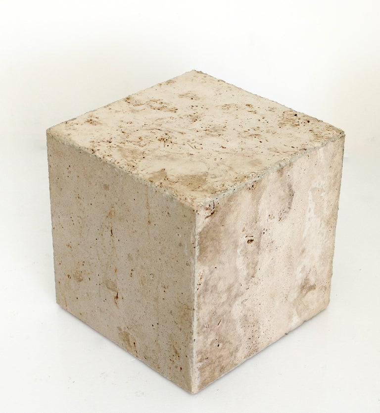 Organic Modern Travertine Marble Cube Side Table or Coffee Table For Sale