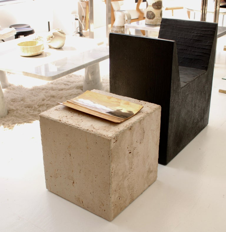 Travertine Marble Cube Side Table or Coffee Table For Sale 2
