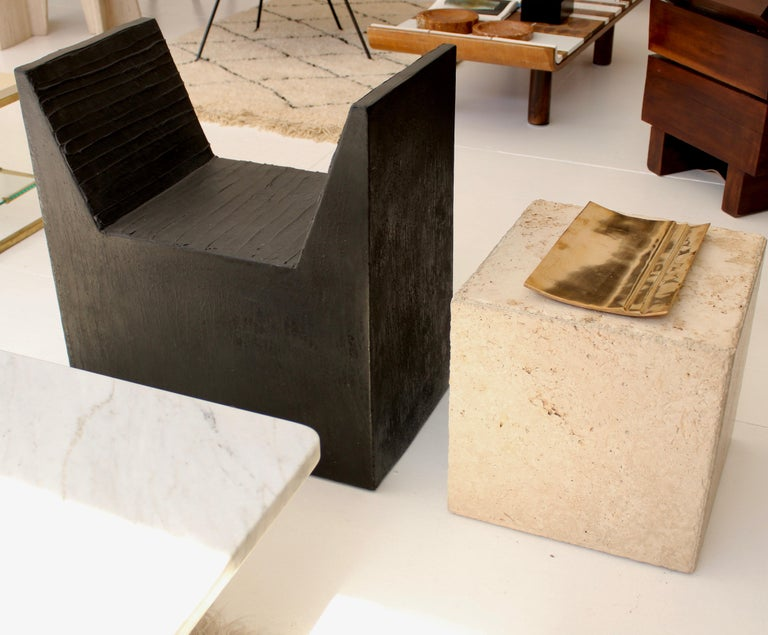 Travertine Marble Cube Side Table or Coffee Table For Sale 3