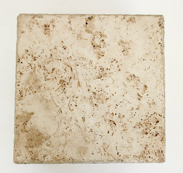 Travertine Marble Cube Side Table or Coffee Table For Sale 1