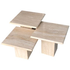 Travertine Marble Nesting Coffee Side Tables, 1970s