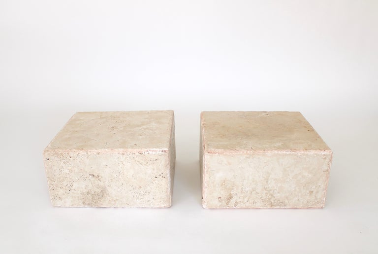 Travertine Marble Rectangular Tall Side Table, Drinks Table or Coffee Table For Sale 4