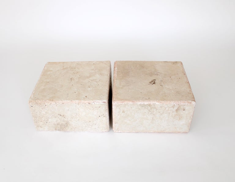 Travertine Marble Rectangular Tall Side Table, Drinks Table or Coffee Table For Sale 5