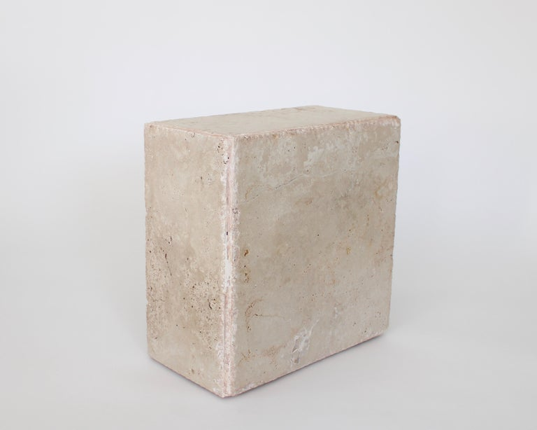 American Travertine Marble Rectangular Tall Side Table, Drinks Table or Coffee Table For Sale