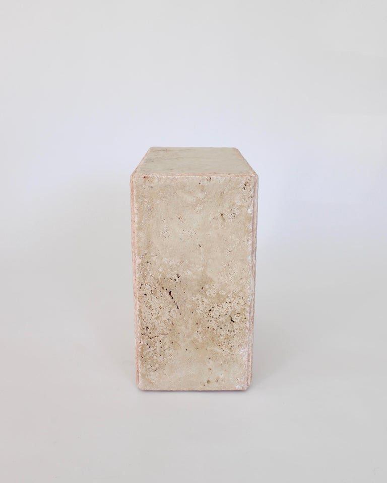 Travertine Marble Rectangular Tall Side Table, Drinks Table or Coffee Table In New Condition For Sale In Chicago, IL