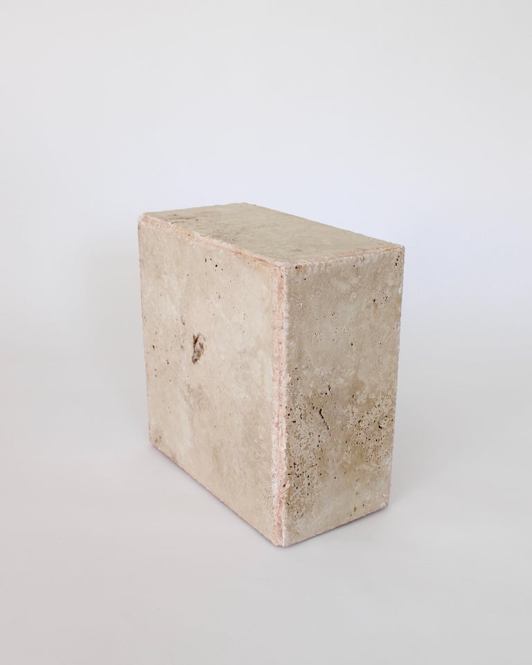 Contemporary Travertine Marble Rectangular Tall Side Table, Drinks Table or Coffee Table For Sale