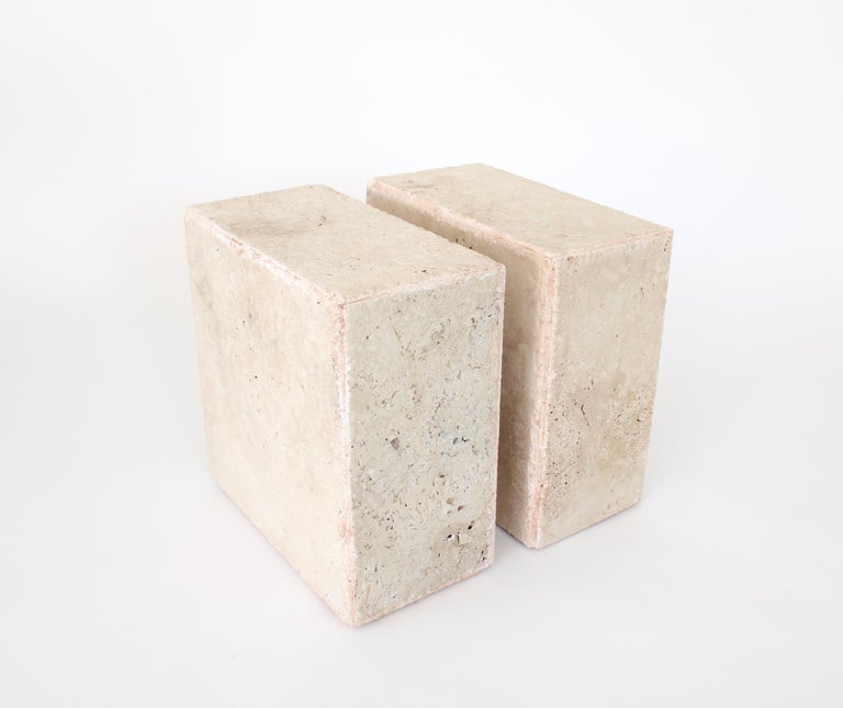 Travertine Marble Rectangular Tall Side Table, Drinks Table or Coffee Table For Sale 2