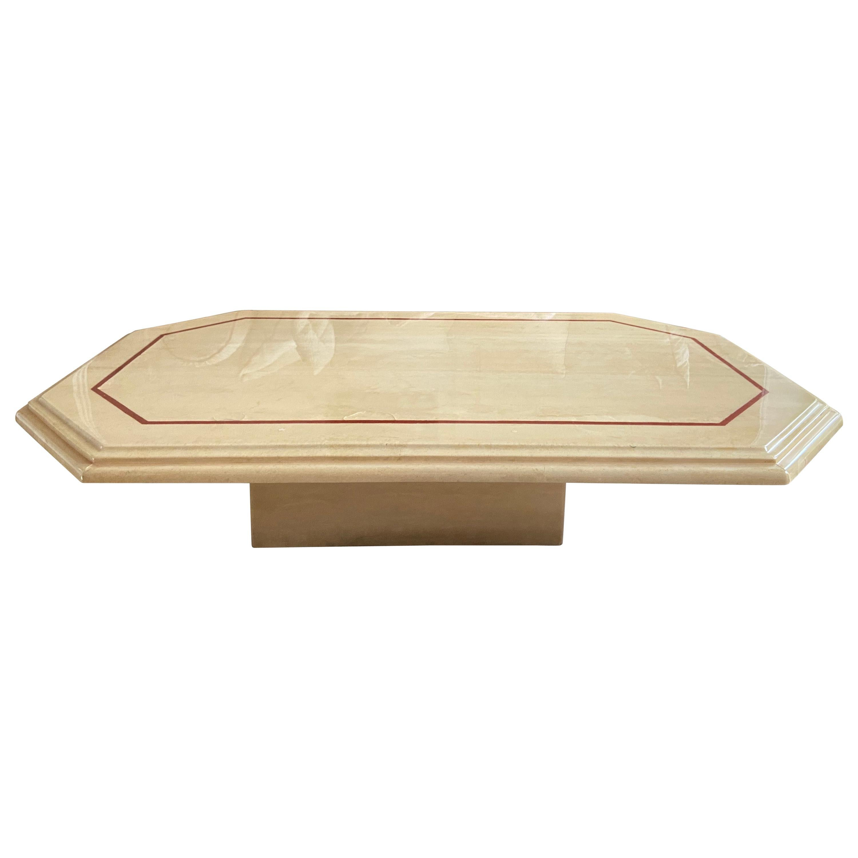 Travertine Marble Set of Large and Small Coffee Tables by Roche Bobois, 1980s