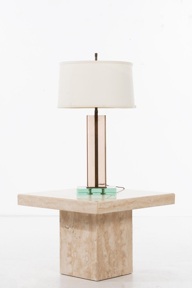 American Travertine Marble Side Table Willy Rizzo Style For Sale