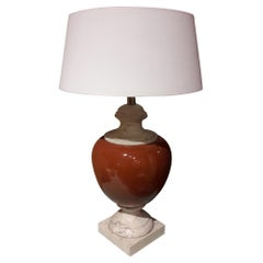 Travertine Marble Table Lamp, 20th Century