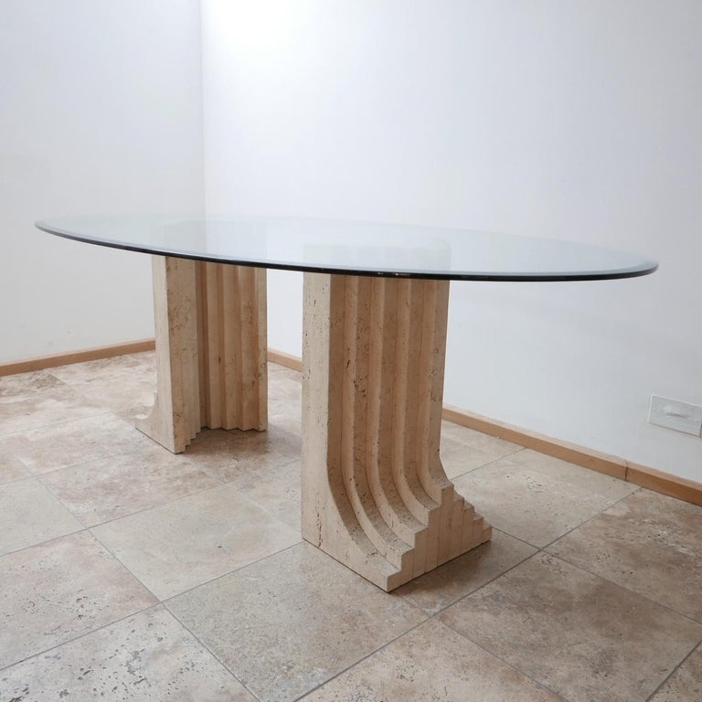 Mid-Century Modern Travertine Midcentury Dining Table by Carlo Scarpa For Sale