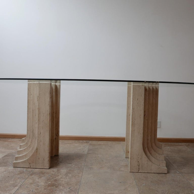 French Travertine Midcentury Dining Table by Carlo Scarpa For Sale