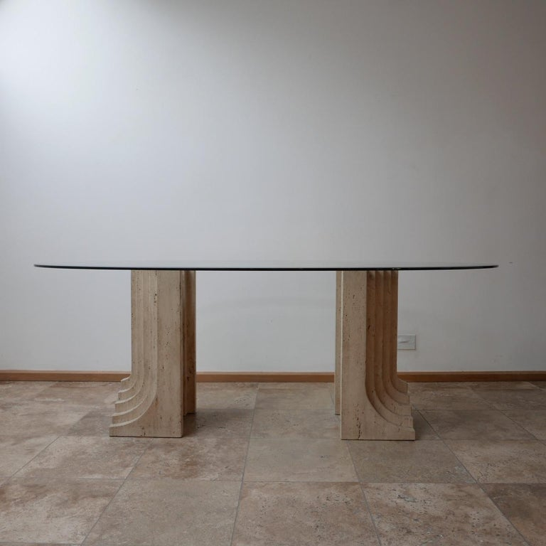 Late 20th Century Travertine Midcentury Dining Table by Carlo Scarpa For Sale
