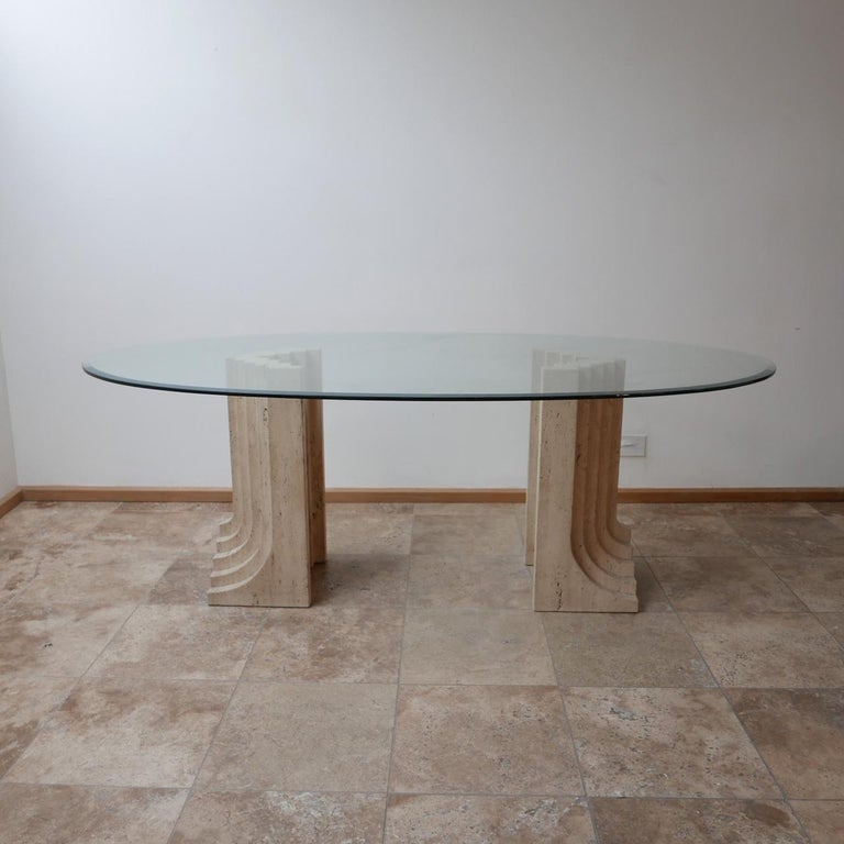 Glass Travertine Midcentury Dining Table by Carlo Scarpa For Sale