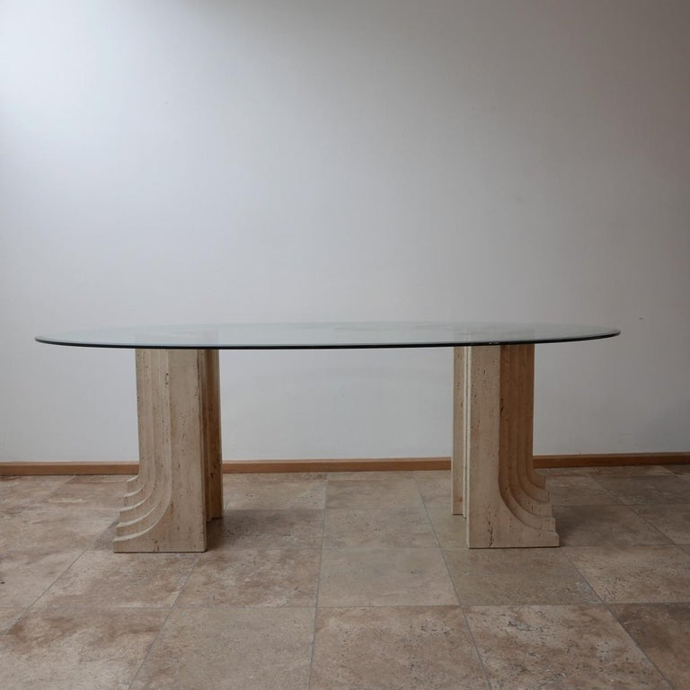 Travertine Midcentury Dining Table by Carlo Scarpa For Sale 1