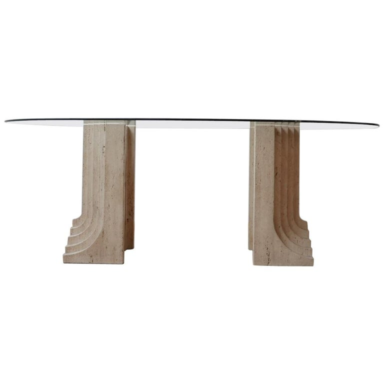 Travertine Midcentury Dining Table by Carlo Scarpa For Sale