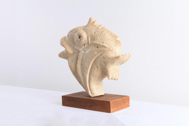 Mid-Century Modern Travertine Moonfish Sculpture