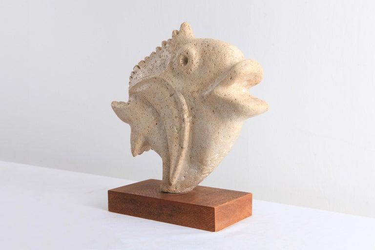 European Travertine Moonfish Sculpture
