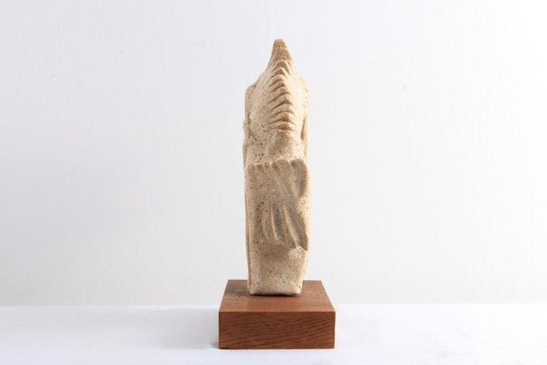 Travertine Moonfish Sculpture  1