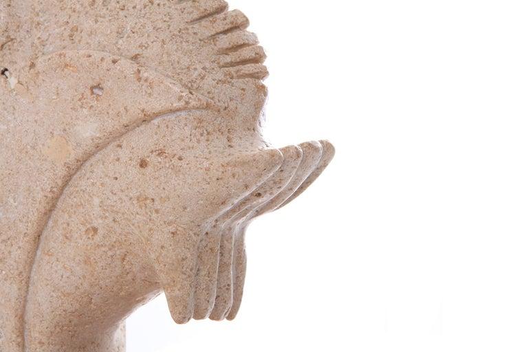 Travertine Moonfish Sculpture  3