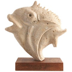 Travertine Moonfish Sculpture