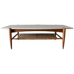 Travertine, Oak and Cane Coffee Table by DUX, circa 1965