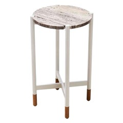 Travertine Outdoor Bronson Drinks Table by Lawson-Fenning