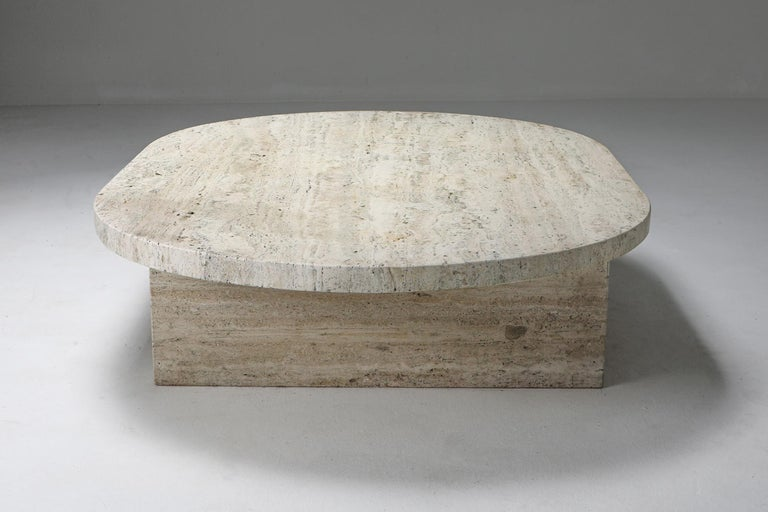 Brutalism, minimalism, travertine, coffee table, oval, France, 1970s  Gorgeous thick slabs of travertine in an elegant no nonsense shape. Less is more is certainly the case here. It's a very white type of travertine, the most expensive