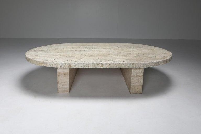 Brutalist Travertine Oval Coffee Table