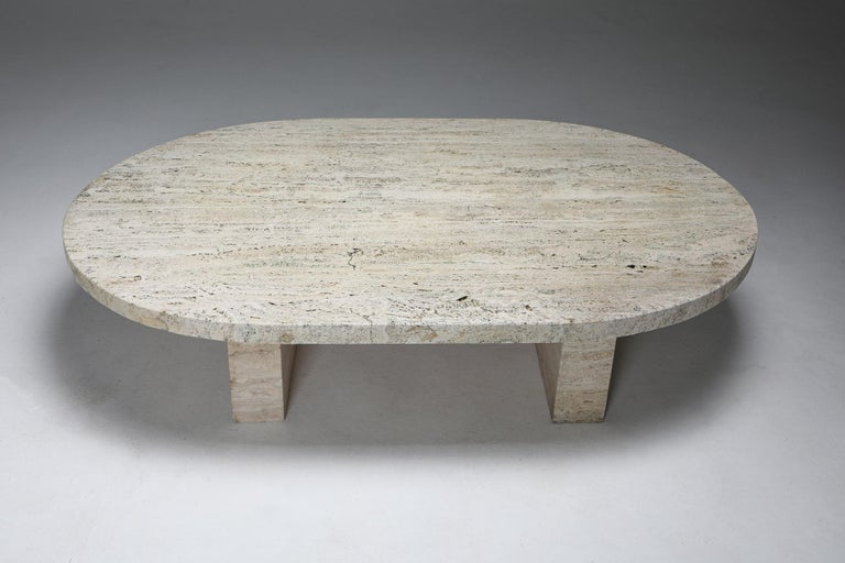 Late 20th Century Travertine Oval Coffee Table