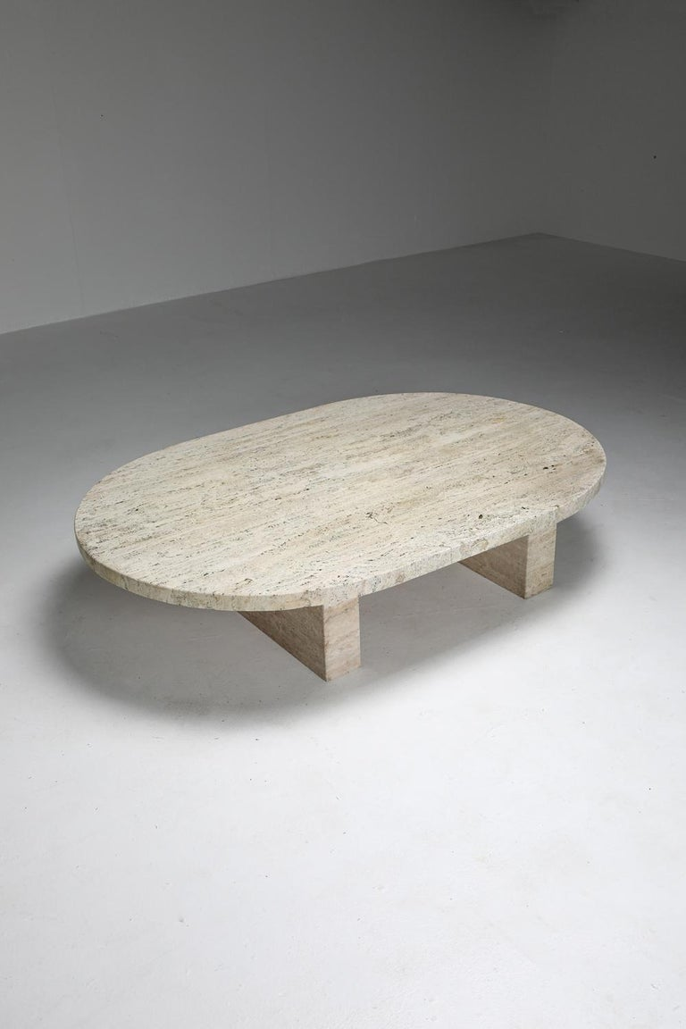 Travertine Oval Coffee Table 3