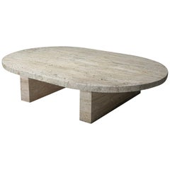 Travertine Oval Coffee Table