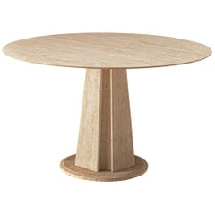 Travertine Pedestal Table with Round Table Top