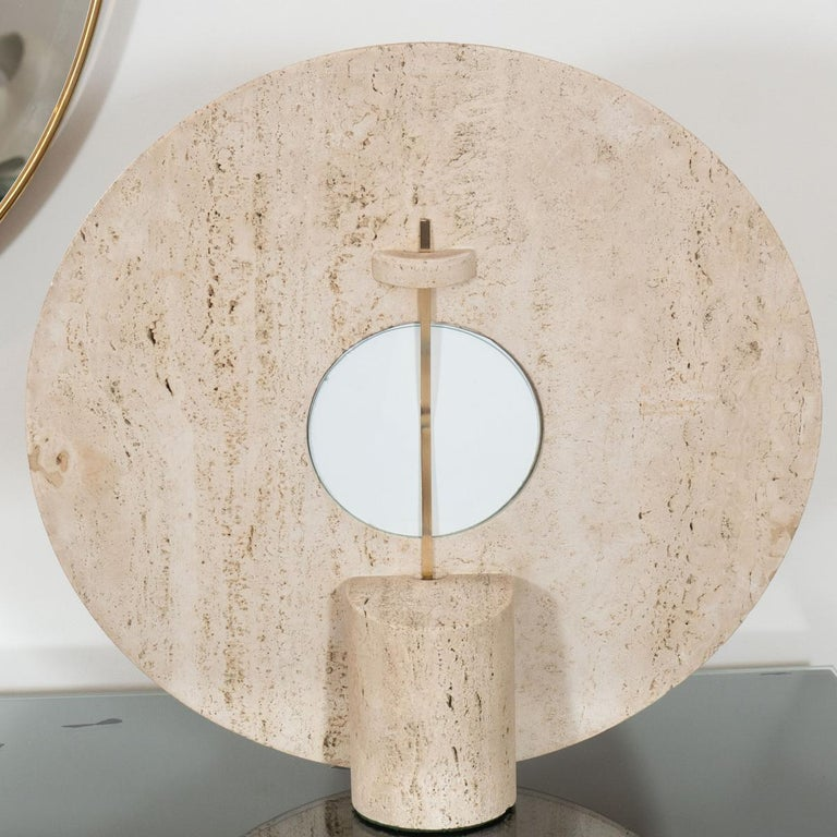 Italian Travertine Picture Frame with Incised Design For Sale