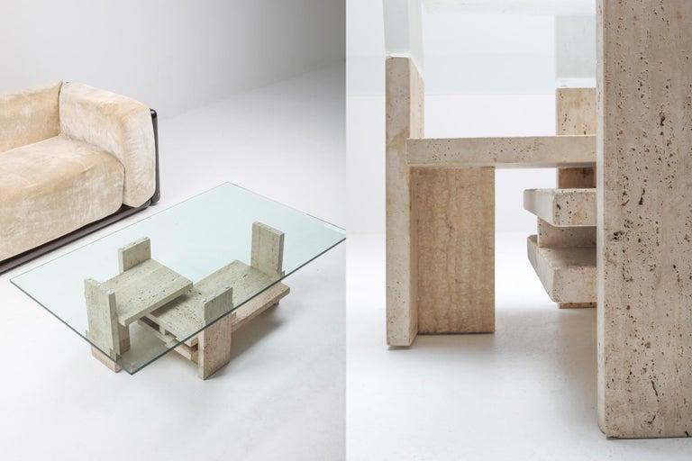 Travertine Postmodern Coffee Table For Sale 5