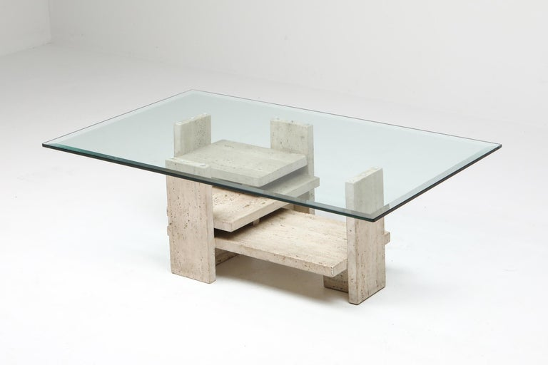 Postmodern coffee table, architectural, geometrical, travertine, France, 1970s  Minimalist modern piece that fits well in contemporary interiors. You see it presented next to our Soriana couch by Scarpa.
