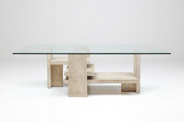 Post-Modern Travertine Postmodern Coffee Table For Sale