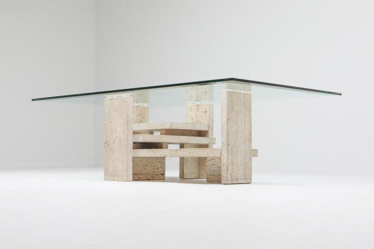 European Travertine Postmodern Coffee Table For Sale