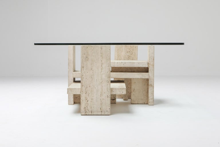 Travertine Postmodern Coffee Table In Excellent Condition For Sale In Antwerp, BE