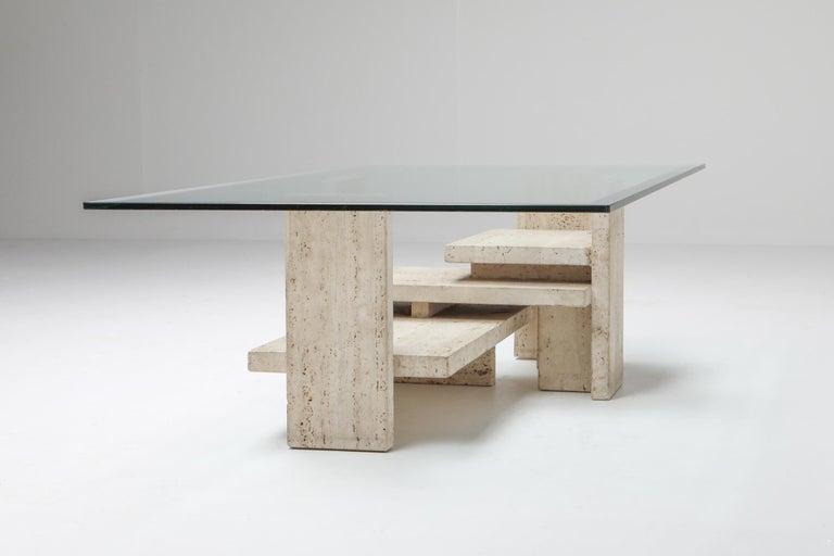 20th Century Travertine Postmodern Coffee Table For Sale