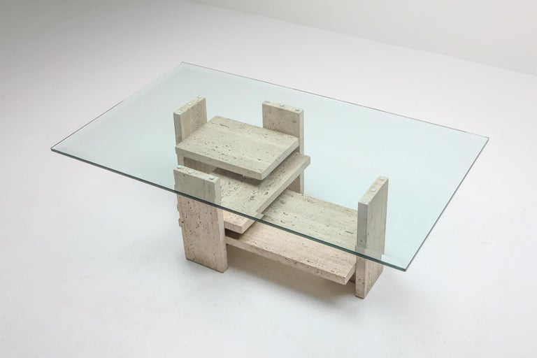 Travertine Postmodern Coffee Table For Sale 1