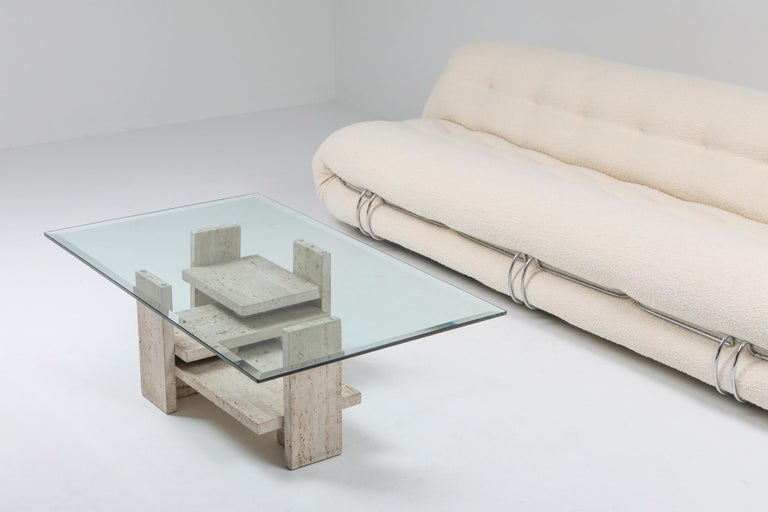 Travertine Postmodern Coffee Table For Sale 2