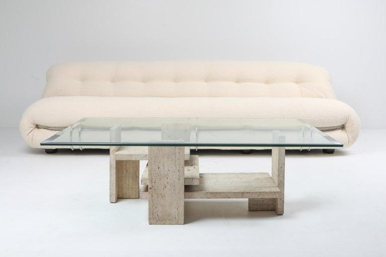 Travertine Postmodern Coffee Table For Sale 3