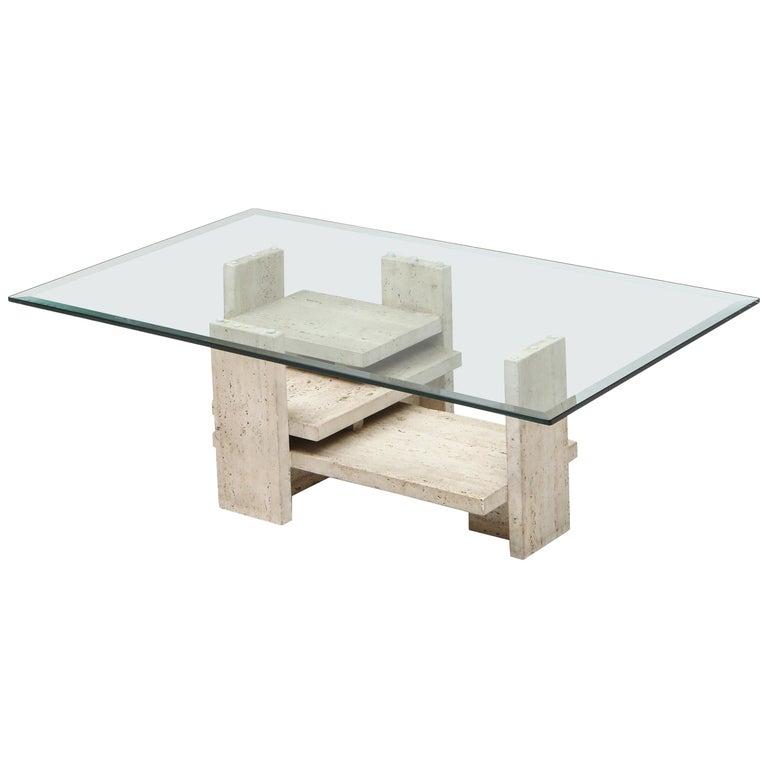 Travertine Postmodern Coffee Table For Sale