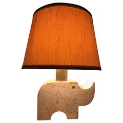 Travertine Rhinoceros Table Lamp by Fratelli Manelli, Italy, 1970s, Marble Light