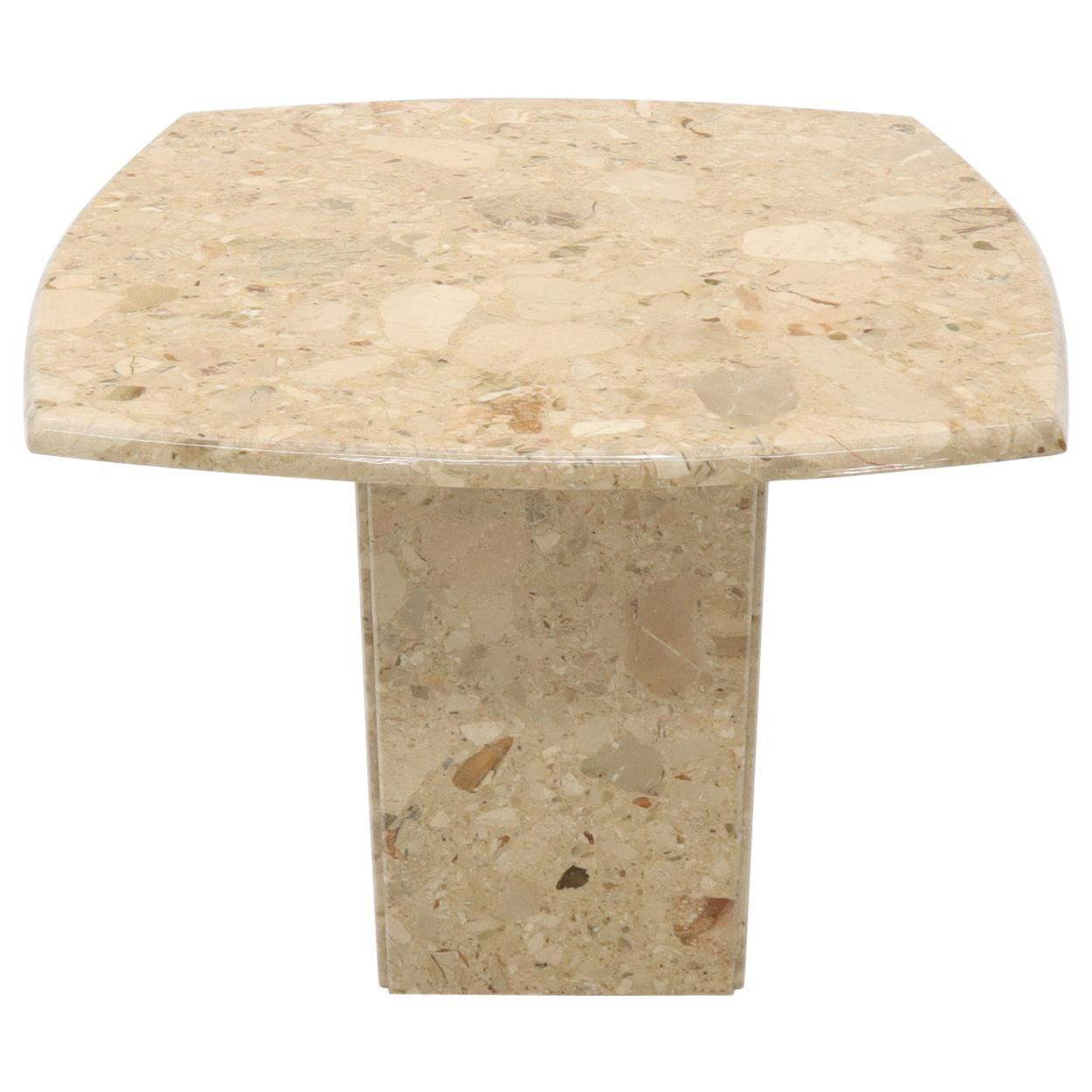 Travertine Rounded Square Side Occasional Coffee Table Stand