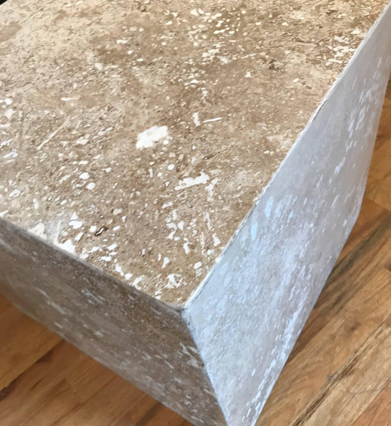 Travertine Side End Table Cube For Sale 4